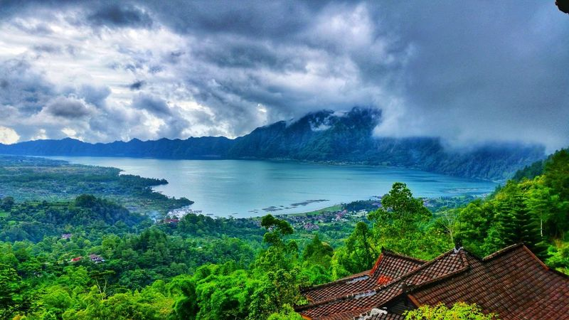 Volcano Lake Batur Lake Indonesia Photography  INDONESIA Bali Viewpoint View Nature Trees Cloudporn Rooftops Water Tree Mountain Sky Tranquil Scene