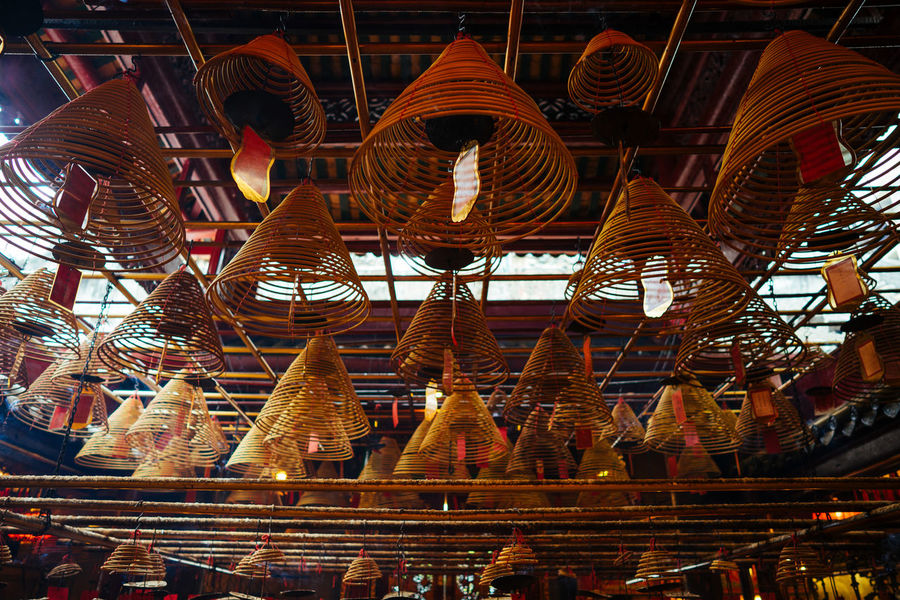 Coil incenses in Man Mo Temple ASIA Coil Hong Kong Incense Indoors  Man Mo Temple No People Oriental Place Of Worship Religion Serence Spirituality Tradition Tranquility Travel Destinations