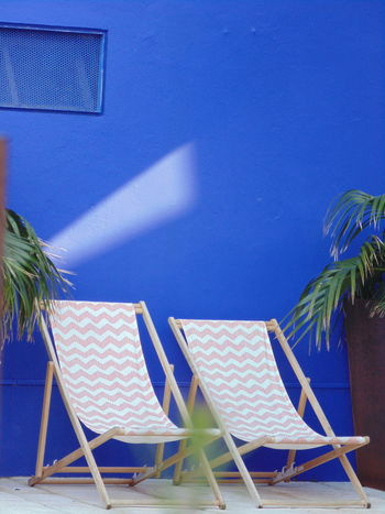 Casa da Baía, Setúbal-Portugal. Beach Blue Chair Clear Sky Day Horizon Over Water Nature No People Outdoors Palm Tree Sand Sea Sky Vacations Water