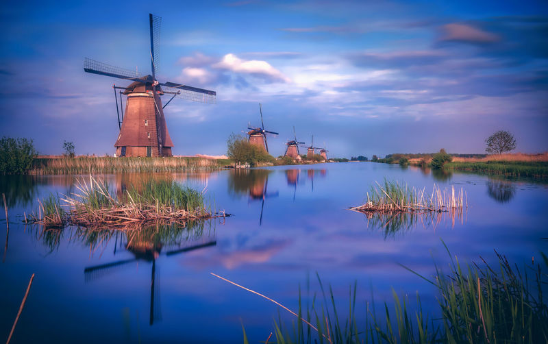 Kinderdijk Mills Holland Dutch Reflection Windmills Amsterdam Sunset Cloud - Sky Blue Sky