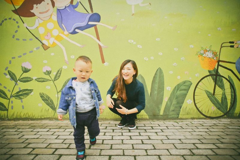 Cute toddler Toddler  Baby Boy Family Family❤ Mother And Son Candid Photography Candidshot Snapshots Of Life Laughing Relaxing Cartoon Wall Painting People Together