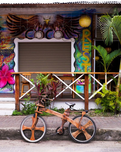 Architecture Brightly Coloured Built Structure Bycicle Costa Rica Costa Rica 🇨🇷 Day Designer Bike Designerslife EyeEm New Here Hand Made Hand Made By Me Multi Colored Mural Art No People Outdoors Restaurant Decor Restaurant Scene Street Scene Wooden Bike Wooden Bycic