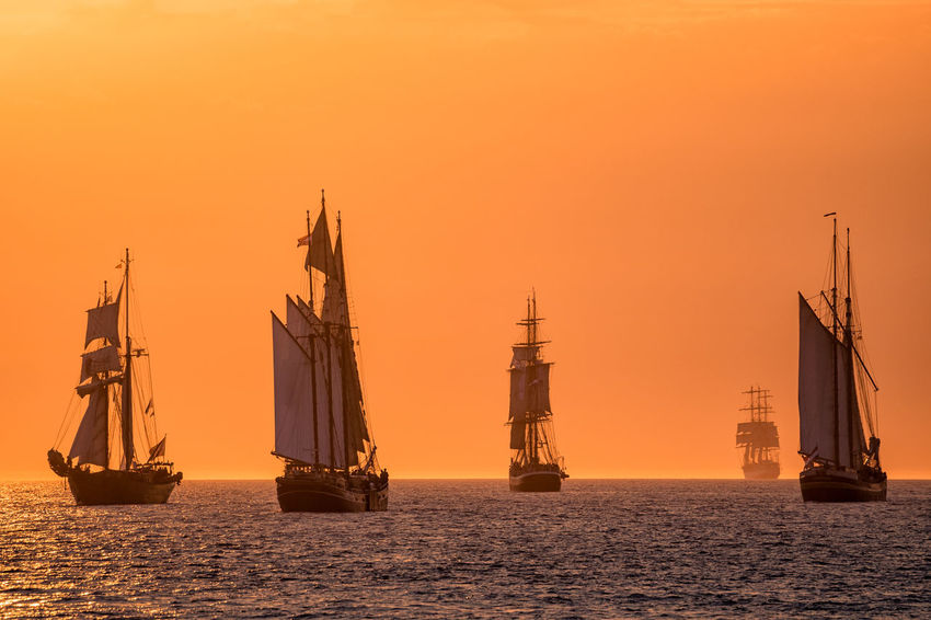 Windjammer on the Baltic Sea. Baltic Sea Coast Evening Hanse Sail HanseSail Journey Mast Nature Nautical Vessel No People Outdoors Rostock Sailing Ship Shore Sky Sunset Tall Ship Tourism Travel Destinations Warnemuende Warnemünde Water Windjammer