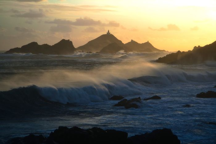 Sunset Sky Beauty In Nature Scenics - Nature Water Sea Tranquil Scene Cloud - Sky Rock Nature No People Idyllic Rock - Object Power In Nature Sanguinaires Iles Sanguinaires Tempête Winter Vent Corsica ❤️ Corse