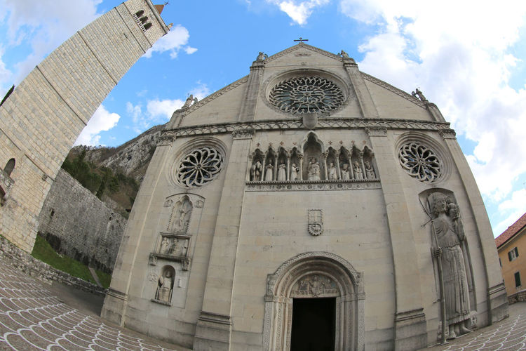 facade of ancient Cathedral in Gemona del Friuli in Northern Italy. The Church was destroyed by an earthquake in 1976. Photo by fisheye lens #carnia #gemona BIG Cathedral Duomo European  Exterior Friuli Venezia Giulia Gemona Del Friuli Statue Built Structure Effect Europe Fish Eye Fisheye Friuli Gemona Glemone Huge Italy Religion Saint Christopher Wide Angle