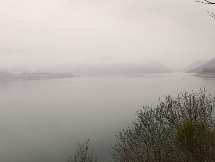 Loneliness Misty Fog Horizon Over Water Lago Del Turano Lake Landscape Scenics Tranquil Scene Tranquility Water
