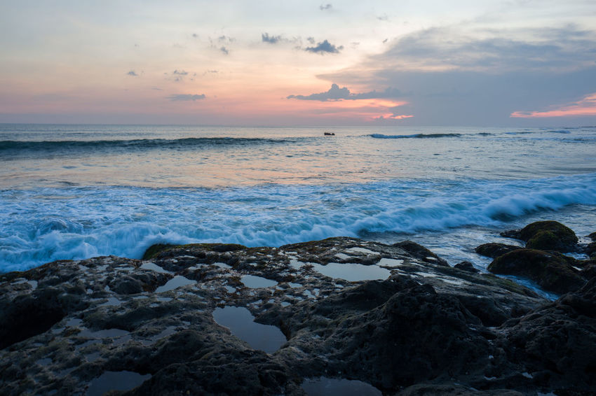 Sunset in Canggu Beach Beauty In Nature Cloud - Sky Horizon Horizon Over Water Idyllic Land Motion Nature Outdoors Rock Rock - Object Scenics - Nature Sea Sky Solid Sunset Tranquility Water Wave
