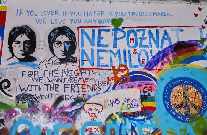 Lennon Lennon Wall Communication Day Johnlennon Lennonwall Multi Colored No People Outdoors Text
