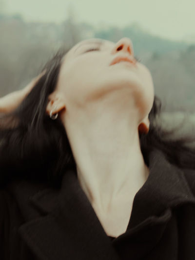 Close-up of woman lying down