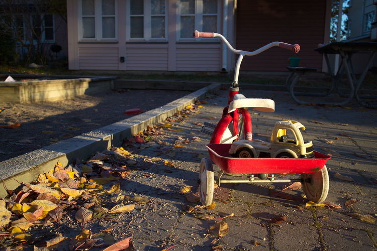 abndonded child's tricycle covered in morning frost Abandoned Autumn Bicycle Children's Toys Frost Leaves Morning Red Tricycle