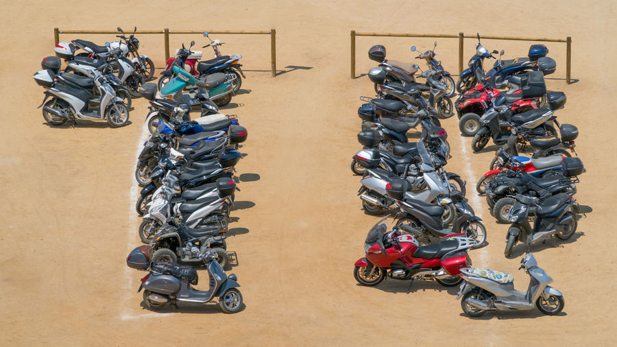 Parking for motorbikes Competition Day High Angle View Large Group Of Objects Motorcycle No People Rows Of Things Sport