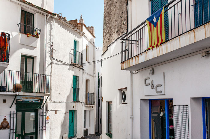Alley Architecture Building Building Exterior Built Structure Catalan Catalunya City Life Corridor Costa Brava Door Exterior House Mediterranean  Modern Narrow Old Perspective Railing Residential Structure SPAIN Urban Wall Window