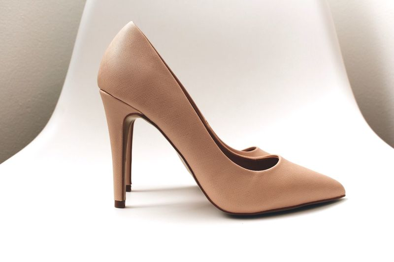 Fashion Shoe High Heels Dress Shoe Pair Elégance Indoors  Close-up White Background Modern Low Section Adult Day People