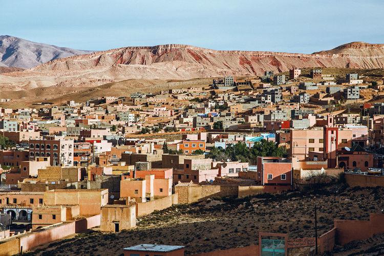 Panorama of ancient berber village of tinghir in sahara desert at sunrise, morocco