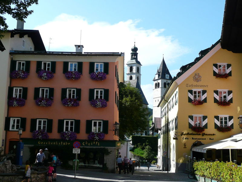 Street scene of Kitzbuhel in Austria. An old European walled town in Austria. Architecture Austria Building Exterior Churches City Colorful Building Colourful Buildings Day Europe Kitzbühel Kitzbüheler Alpen Old Buildings Old City TOWNSCAPE