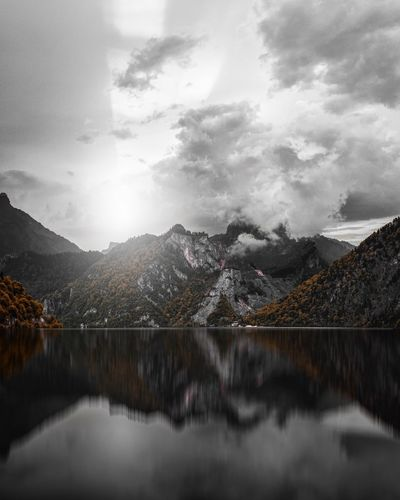 Reflections Mountain Beauty In Nature Nature Scenics Sky Tranquil Scene Reflection Tranquility Idyllic No People Outdoors Water Lake Waterfront Mountain Range Cloud - Sky Day Snow