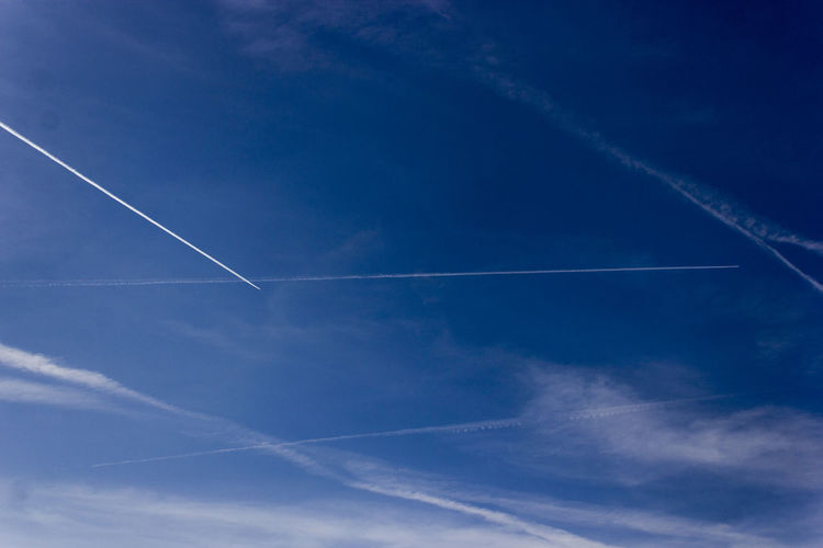 Vapor trail in blue sky