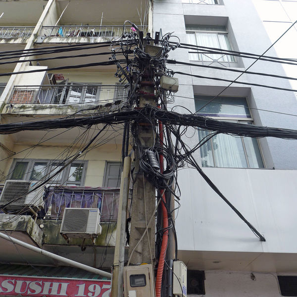 Power cable in Saigon Building Exterior Built Structure Cable City Connection Electricity  Exterior Ho-Chi-Minh City Kabelsalat Power Cable Power Line  Saigon Technology Urban Vietnam