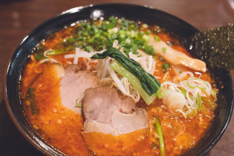 Spicy miso ramen at a famous restaurant in oma, aomori prefecture