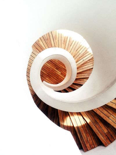 Stairs Spiral Staircase Spiral Wood - Material White Background Circle Modern Geometric Shape Creativity Architecture Minimalism Minimal