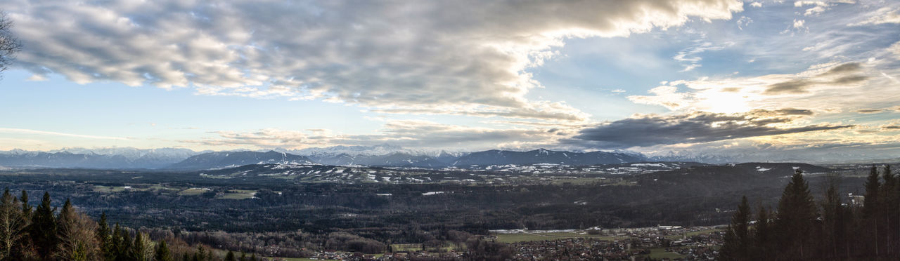 view from Peißenberg Beauty In Nature Cloud - Sky Day Landscape Mountain Mountain Range Nature No People Outdoors Scenics Sky Snow Tree