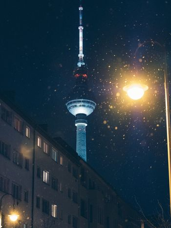 Berlin Architecture Building Exterior Night Sphere Built Structure Spire  Communication Tall - High Television Tower Tower Illuminated Travel Destinations City No People Travel Low Angle View Modern