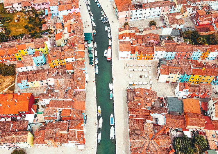 High angle view of multi colored buildings in city
