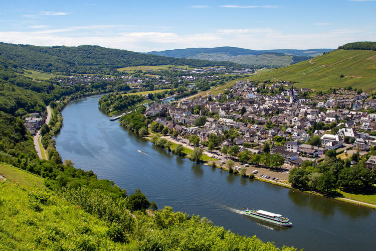 View at the valley of the river moselle and the city of bernkastel-kues from landshut castle