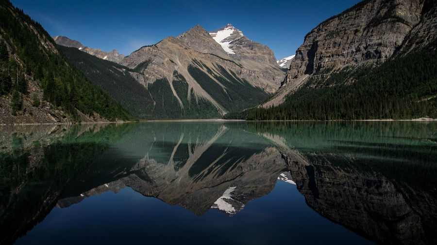 Beauty In Nature Blue Canada Canadian Rockies  Clear Sky Day Hikingadventures Kinney Lake Lake Lake View Landscape Mountain Mountain Range Nature No People Outdoors Reflection Scenics Sky Snow Water