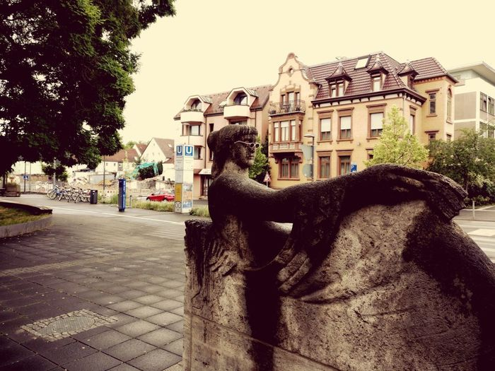 View of horse statue in city