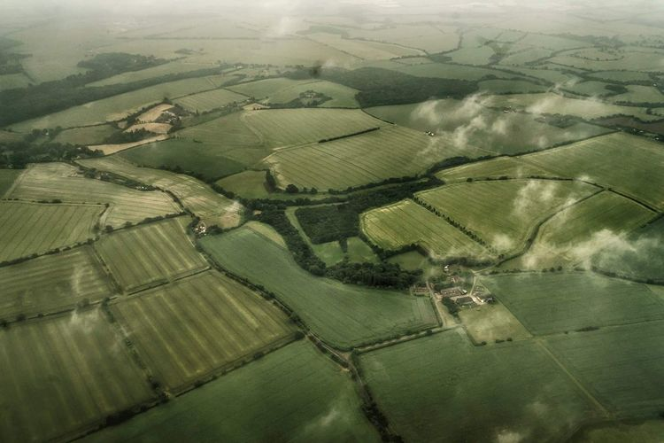 A Foggy England Aerial View Farm Rural Scene Landscape Field Scenics Nature Full Frame Beauty In Nature Patchwork Landscape Outdoors No People Day Photoblogger Flying Airplane Aerial Photography Taking Photos Travelblogger Travel Destinations