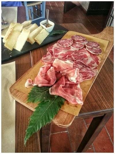 Antipasto Salumi Salumi E Formaggi Cured Meat Indoors  No People Food Freshness Close-up Day Note 2 Smartphone Photography Starters Appetizers Restaurant
