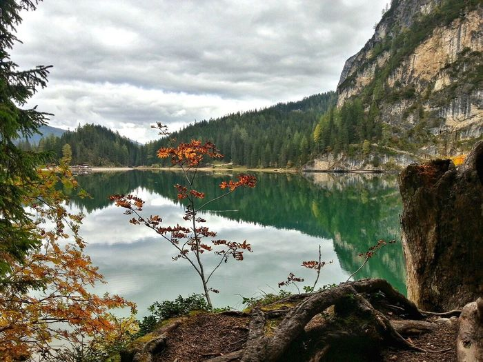 Lago Di Braies Reflection Water Mountains Mountain Hiking Dolomites, Italy Autumn Colors