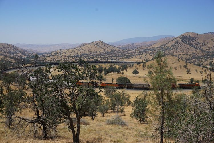 Tehachapi train loop against blue sky