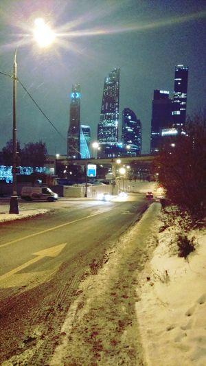Москва-сити зима2016 Illuminated Night Urban Skyline City Road Architecture Building Exterior Cityscape Sky Москва сити Москва✨ Москва москва / Moskva зима зима❄️ Winter Snow ❄ Snow
