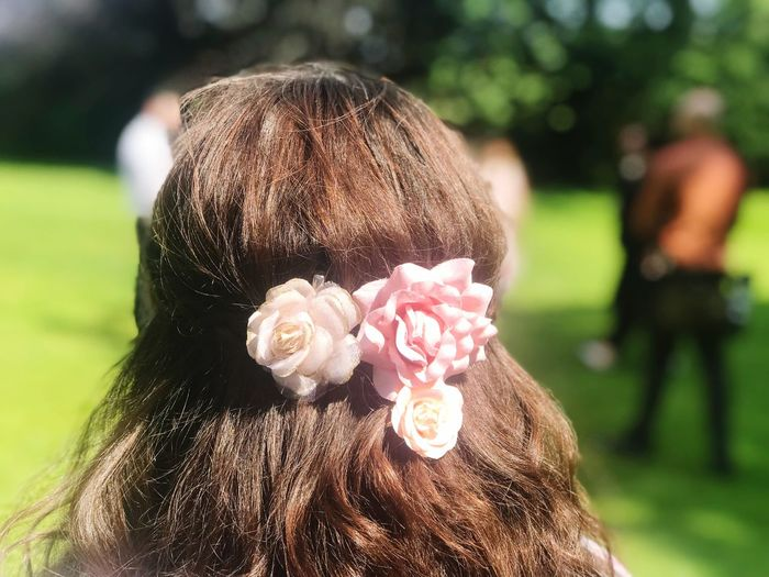 Simple Flowers Beautiful Girl Wedding Focus On Foreground Plant Nature Close-up Sunlight Headshot Flower