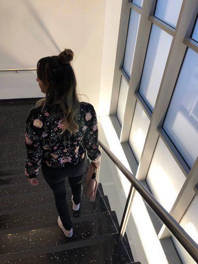 Metropolitan Museum Of Art Moma Stairs One Person Real People Lifestyles Full Length Rear View Indoors  Women