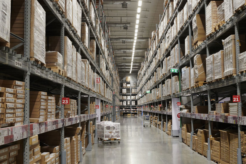 Box - Container Business Cardboard Box Checklist Distribution Warehouse Factory Freight Transportation Indoors  Industrial Equipment Industry Large Group Of Objects Manufacturing Retail  Shelf Stack Storage Compartment Storage Room Store Warehouse