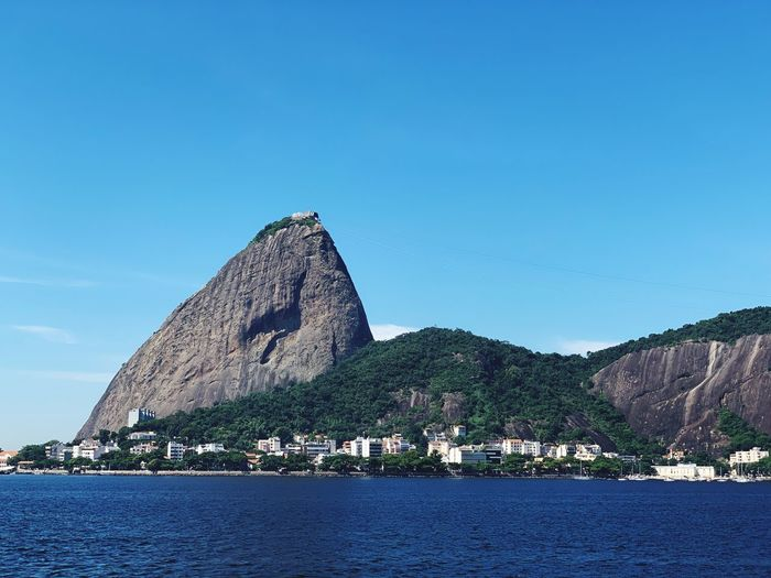 Flamengo Rio De Janeiro Sky Water Architecture Clear Sky Blue Nature Mountain No People Travel Destinations Beauty In Nature Building Exterior Built Structure Copy Space Scenics - Nature Day Sea Outdoors Waterfront