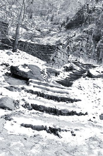 Zion National Park Snowing Steps Mystry Coldweather Winter Composition Blackandwhite Perspective Lowangleshot