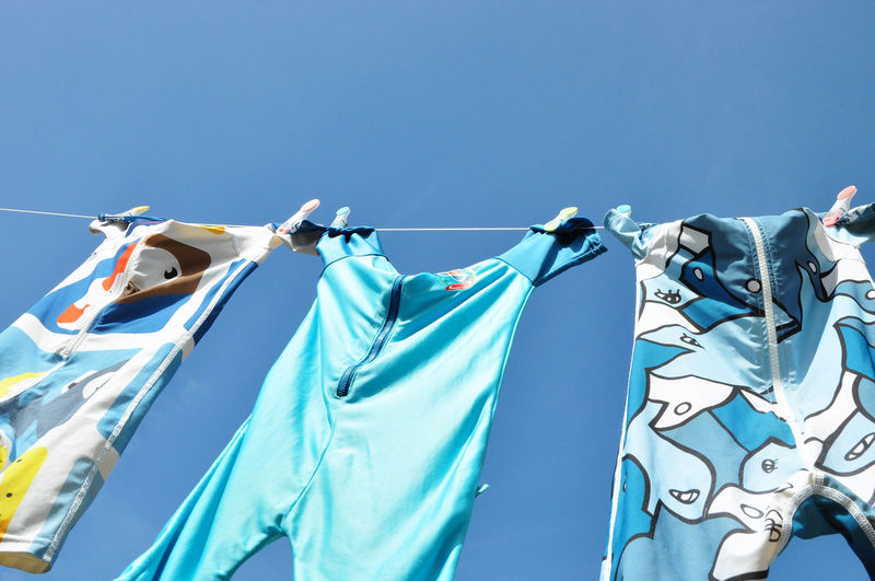 Low Angle View Of Baby Clothing On Clothesline