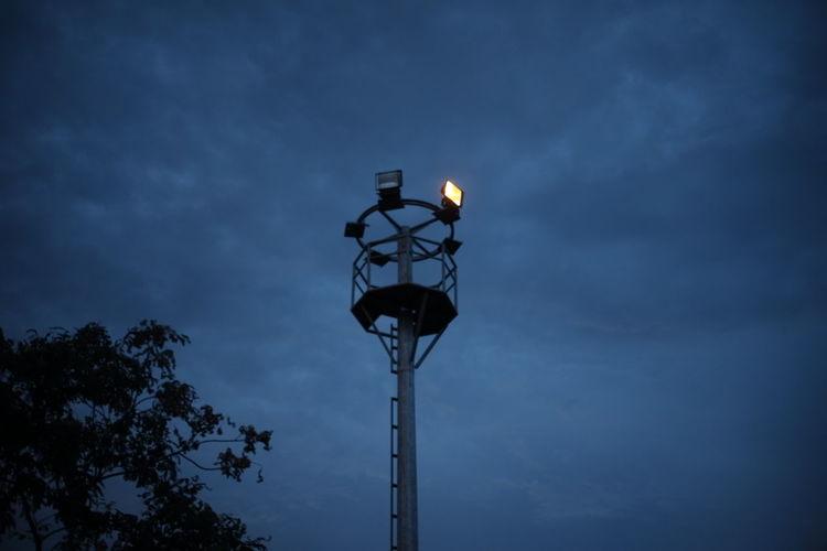 Tree Street Light Blue Sky Electric Light Street Lamp Lamp High Section