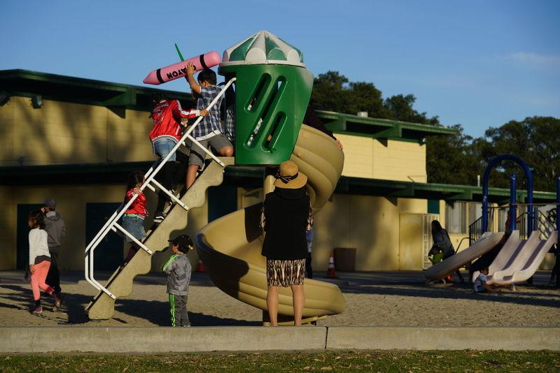 Family Childhood Family Values Full Frame Get Outside Outdoors People Playground Slide