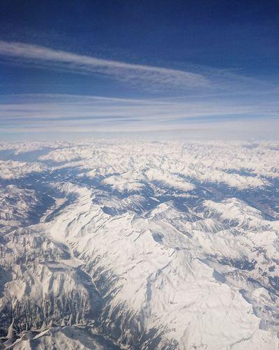 the Alps, above Mayrhofen Landscape Austria Aerial View Alps Plane Sky White Snow Mountain Polar Climate Glacier Glacial Frozen Deep Snow Powder Snow