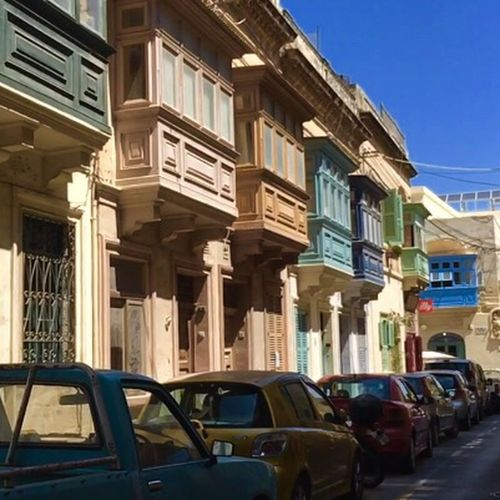 Malta 2016 Street Colors Architecture Beautiful Old Buildings Meanigful Transportation Car Land Vehicle Mode Of Transport Building Exterior Built Structure City Stationary Parking Window Road In A Row Blue City Life Sky Day Outdoors Parked