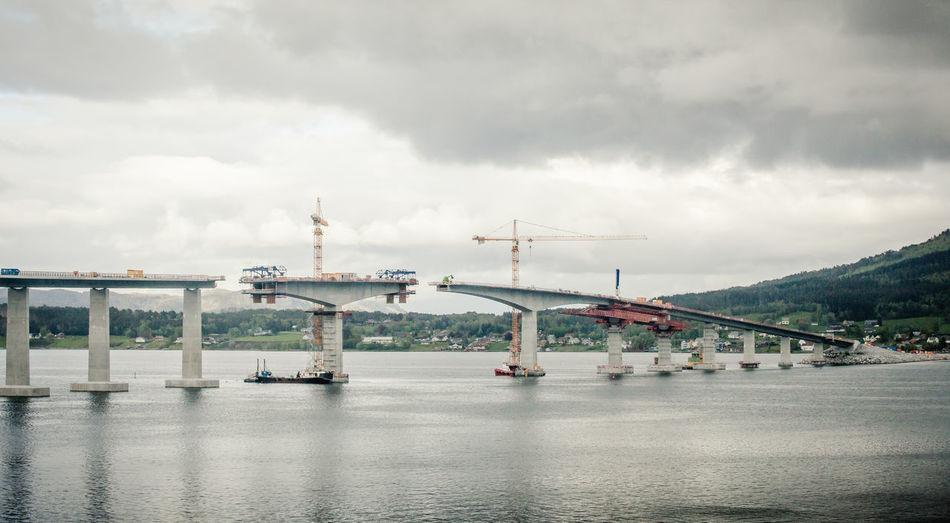 Tresfjord Bridge Under Construction Over Sea