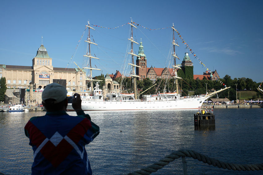 Poland Szczecin Leisure Activity Lifestyles Mast Moored Nautical Vessel One Person Photographing Polen Real People Rear View Sailing Ship Standing Stettin Yacht