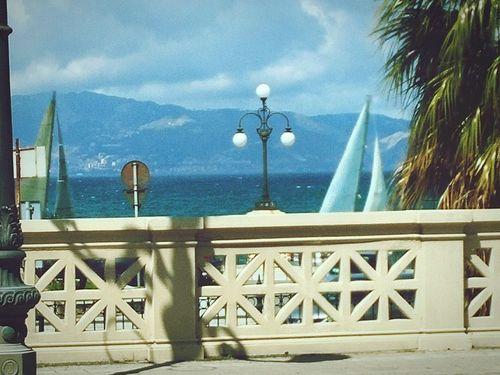 Sea Landscape View Panorama Italy Strettodimessina Calabria Straitofmessina Sicily