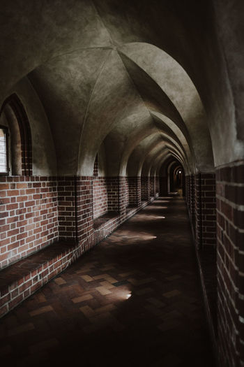 Castle Arch Arched Architecture Brick Brick Wall Ceiling Corridor Diminishing Perspective Direction Indoors  Medieval No People The Way Forward vanishing point