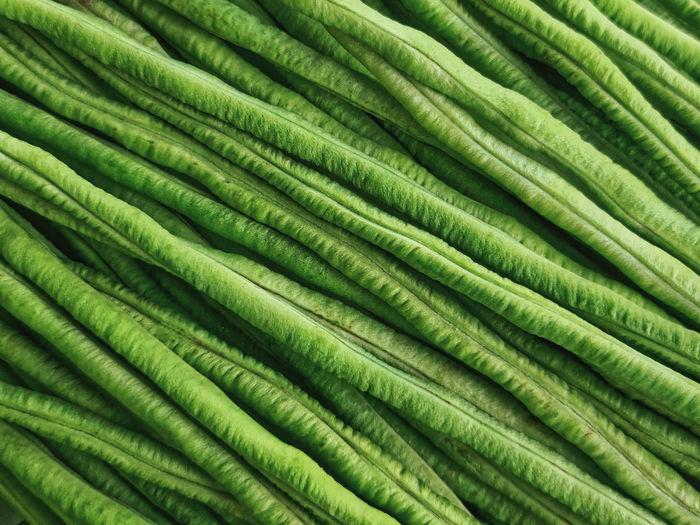 Full frame background of fresh green yardlong beans